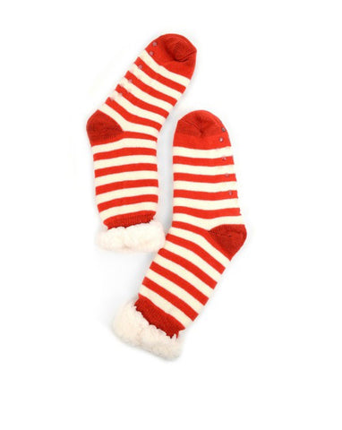 Red & White Striped Sherpa Socks
