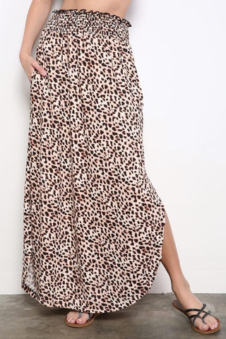 Brown Animal Print Side Slit Maxi Skirt