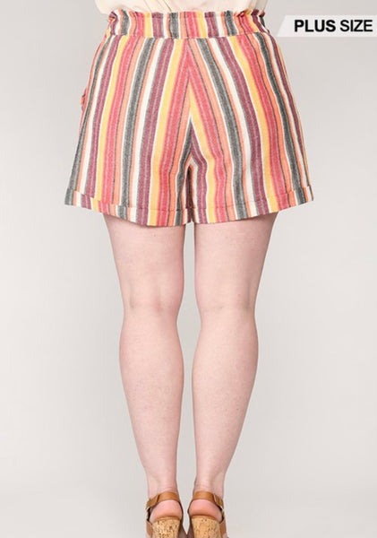 Coral Mix Stripped Shorts (Curvy)
