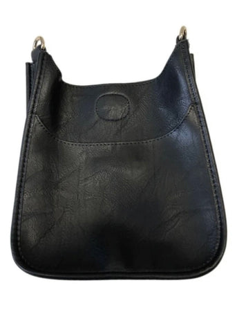 Textured Black Vegan Leather Messenger  Bag With Silver  Hardware (strap sold separately)