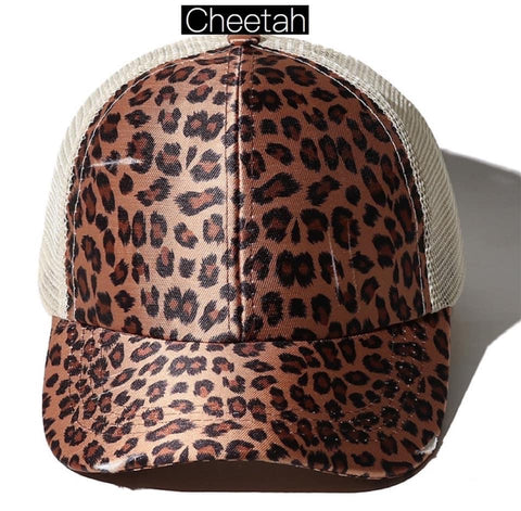 Cheetah Criss Cross elastic Back Trucker