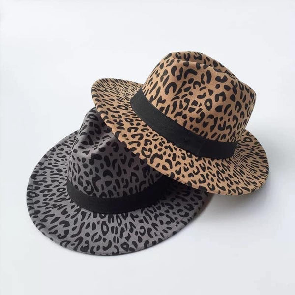 Leopard Felt Fedora Hat (3 colors)