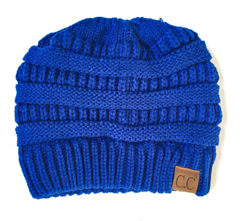 Electric Blue messy bun beanie