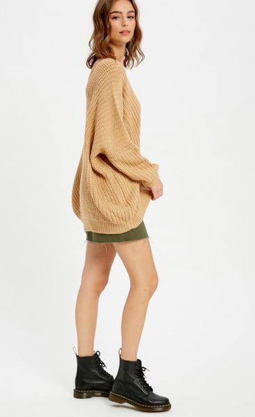 Camel V-Neck Oversized Knit Sweater