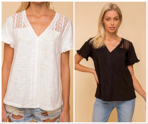 Lace Top V-Neck Blouse (2 colors)