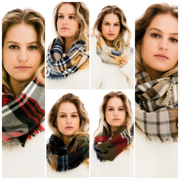 Fall Plaid Infinity Scarves Collection (+ colors)