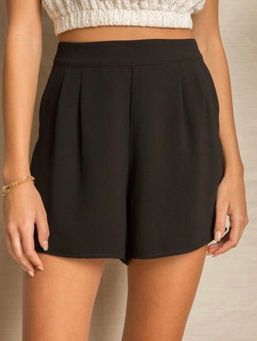 Black Woven Pleat Shorts