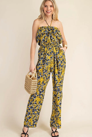 Yellow Flower Fields Tube Top Jumpsuit