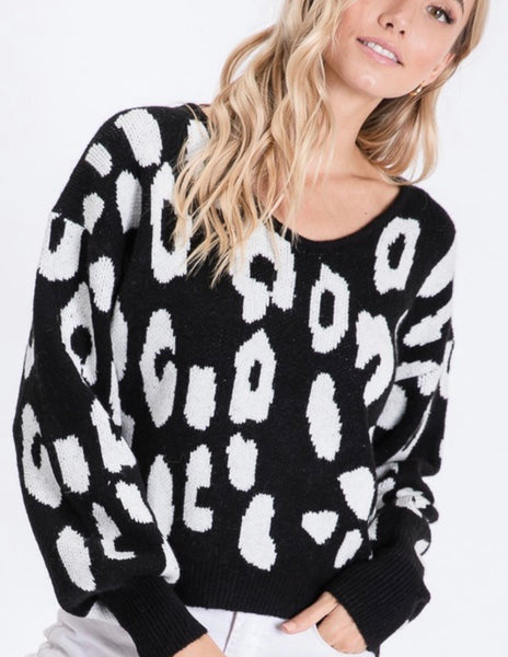 Black And White Large Animal Print Sweater