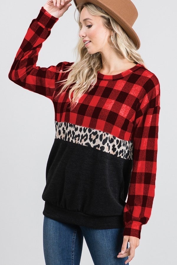 Plaid Leopard and Black Color Block Long Sleeve Top