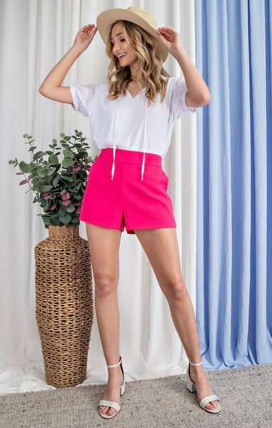 Hot Pink High Rise Structured Shorts