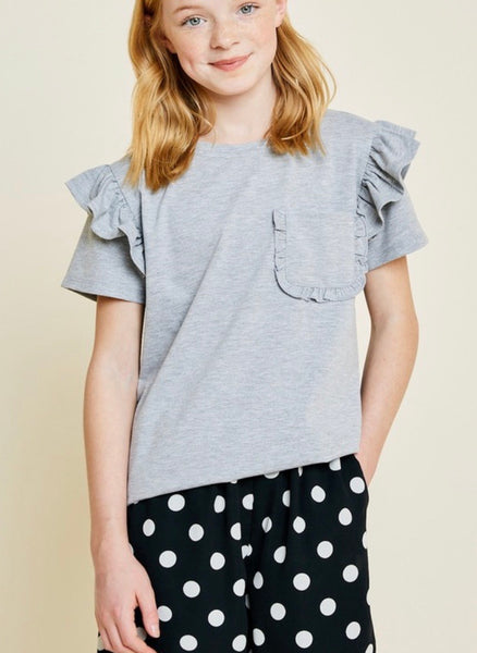Grey Ruffle Sleeve Tee- Kids
