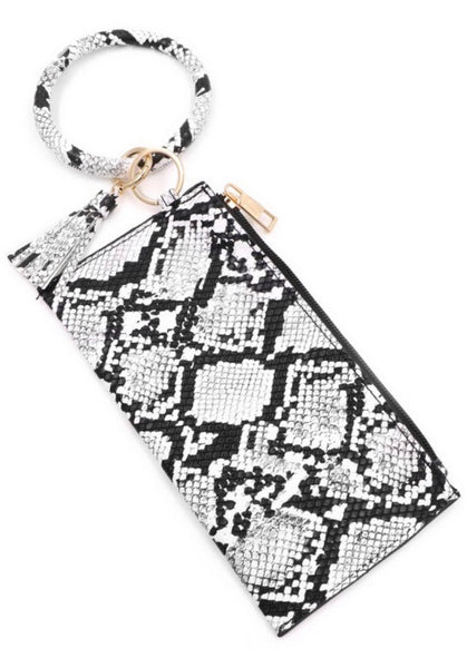 Snake Print Ring Key Chain Pouch