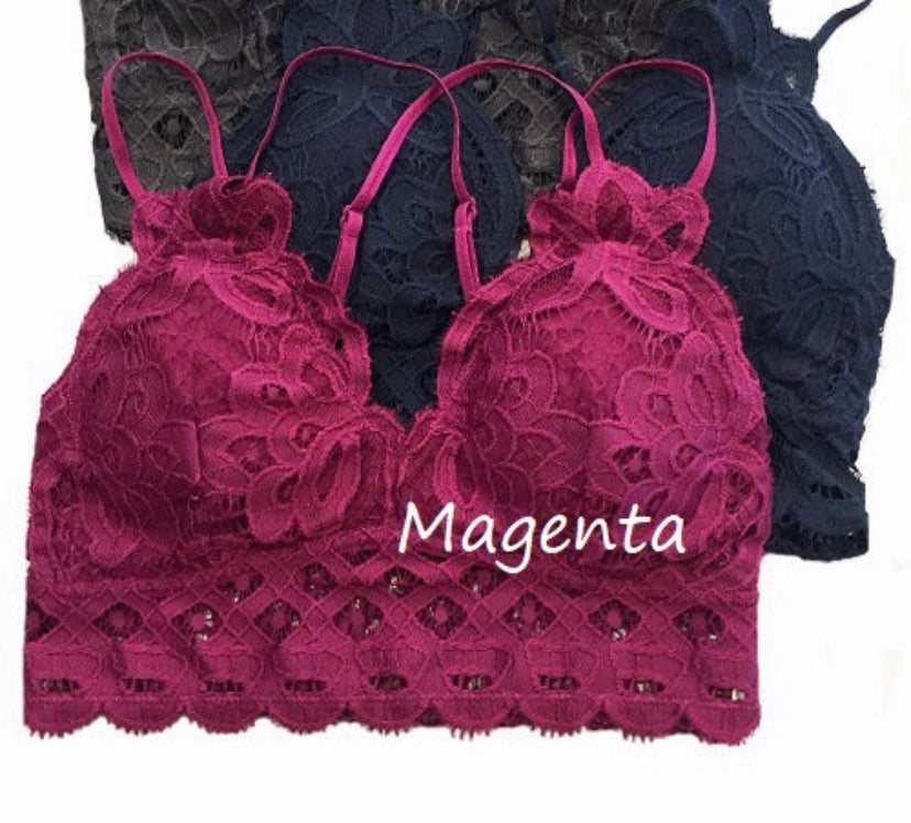 Magenta Lace Bralette