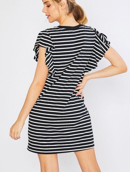Stripe Ruffle V-Neck Shift Dress