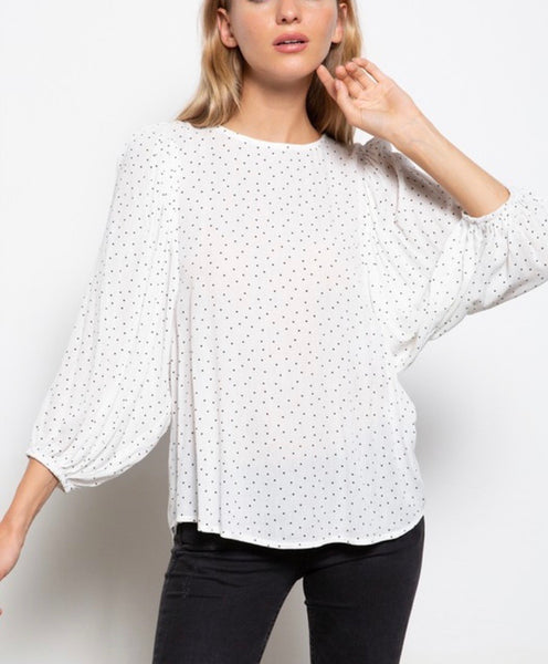 Micro Dot Puff Sleeve Blouse
