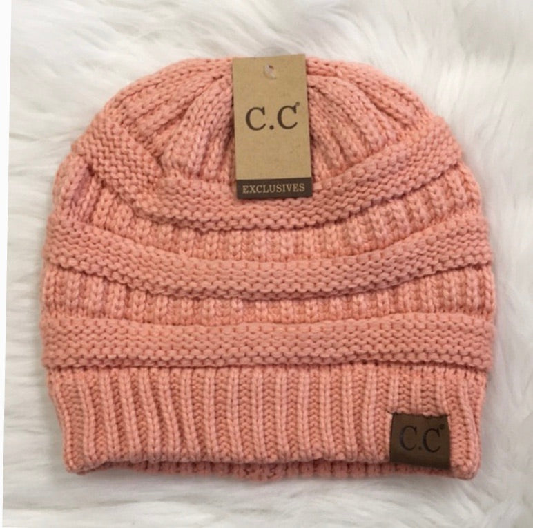 Peach CC label inspired beanie