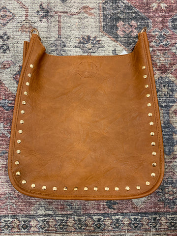 Camel Studded Messenger Bag STRAP NOT INCLUDED (gold studs)