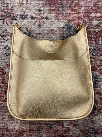 Gold Metallic Vegan Leather Messenger Bag ( strap not included )