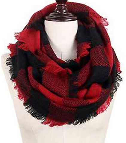 Buffalo Plaid Infinity Scarf (red & Blk)
