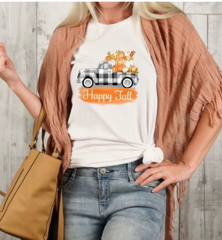 Happy Fall Plaid Truck Tee