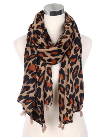 Leopard Tassel Accent Scarf