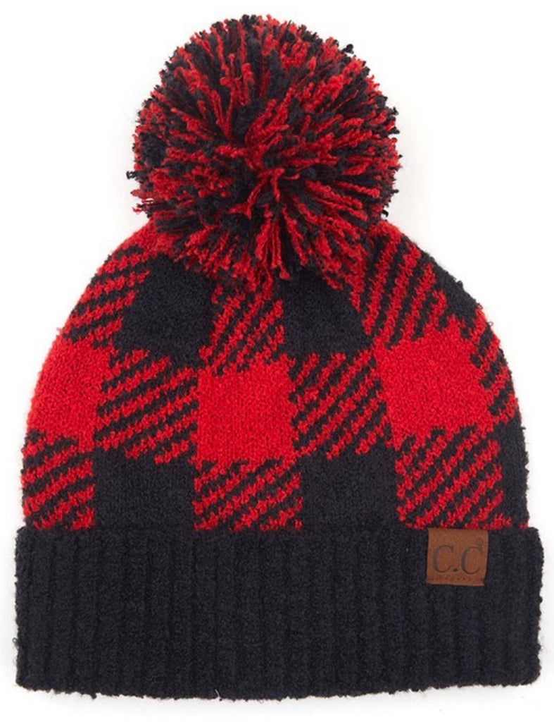 Buffalo Plaid Pom Beanie (2 colors)