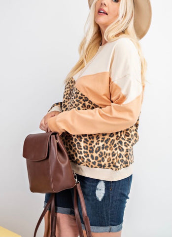 Leopard Color Block Long Sleeve Top (curvy)