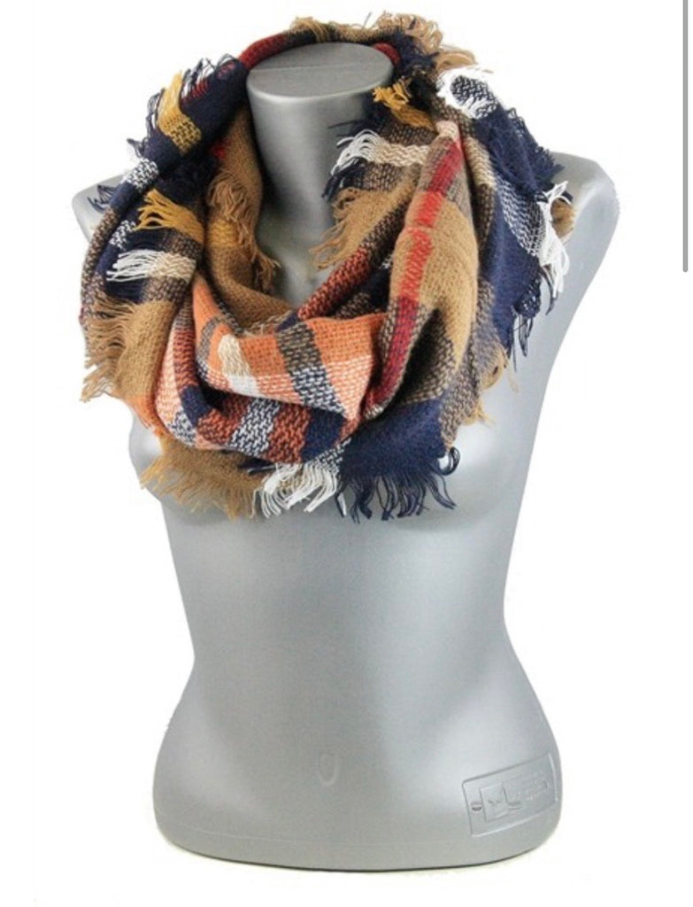 BROWN/ORANGE PLAID INFINITY SCARF