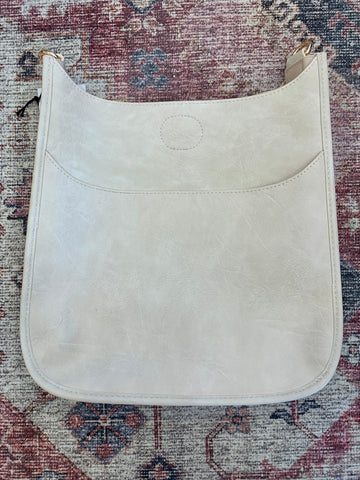 Cream Smooth Vegan Leather Messenger Bag (strap not included)