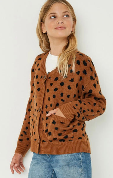 Carmel Leopard Button Up Sweater Youth