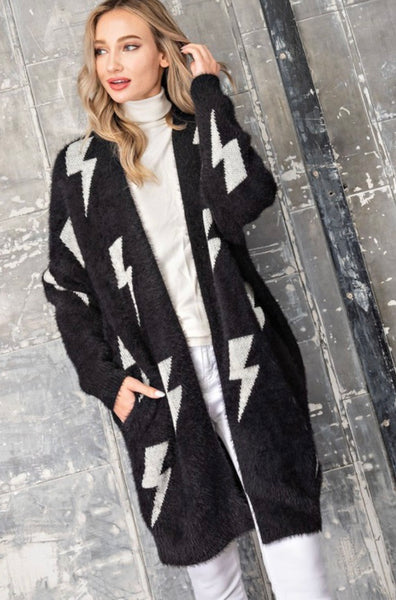 Black And White Thunder Bold Knit Sweater