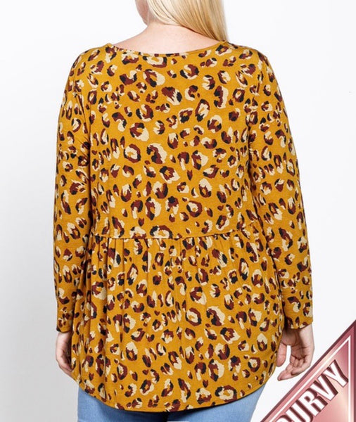 Mustard Leopard Tiered Top (curvy)
