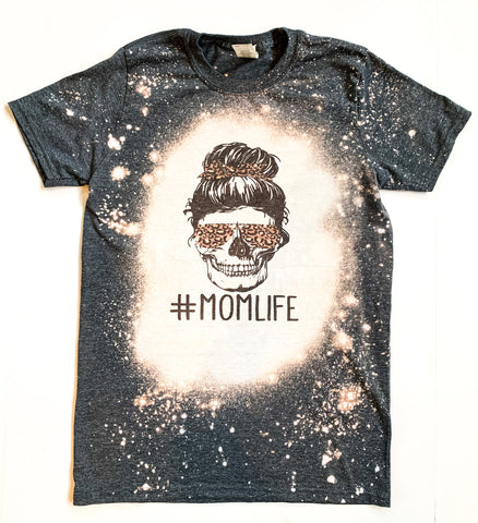 Mom life Leopard Acid Washed Tee