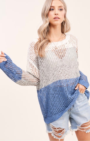 Blue Briony Color Block Sweater