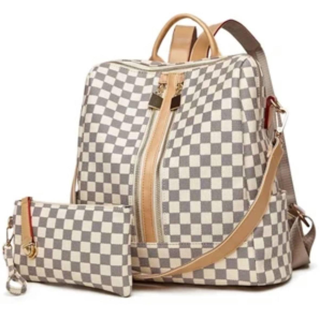 Libby Checkered Backpack