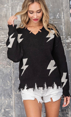 Black And White Thunder Bolt Distressed Sweater