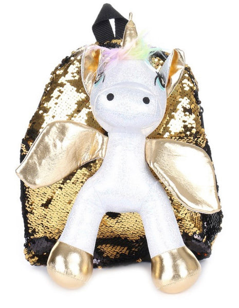 Mini Unicorn Gold and Black Sequin Backpack