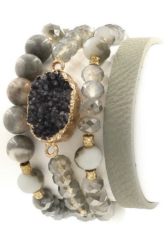 Grey Faceted GlassBead Druzy Bracelet Set