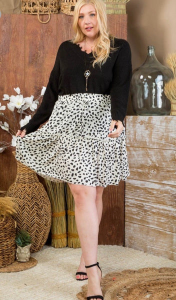 White Leopard Dot Ruffle Skirt