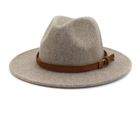 Brown Belt Felt Fedora Hat (3 colors)
