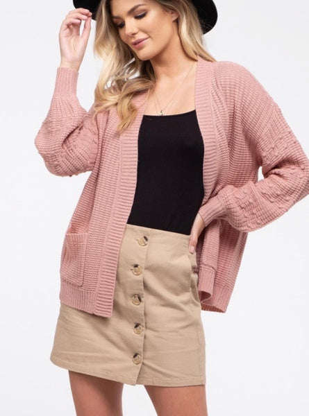 Dark Rose Knit Cardigan