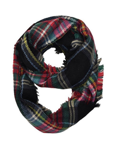 Black Red Plaid Infinity Scarf