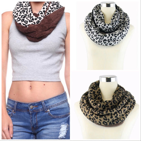 Leopard and Sherpa Infinity Scarf