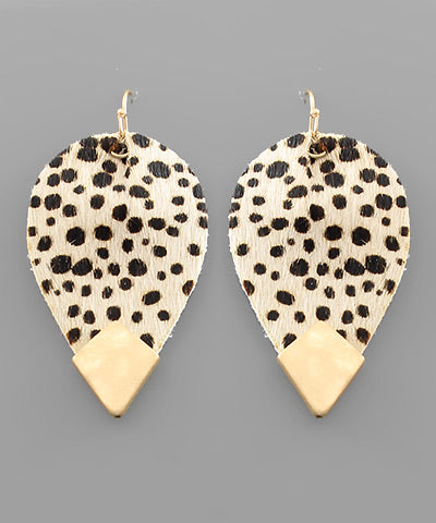 Capped Ivory Cheetah Print Leaf Earrings