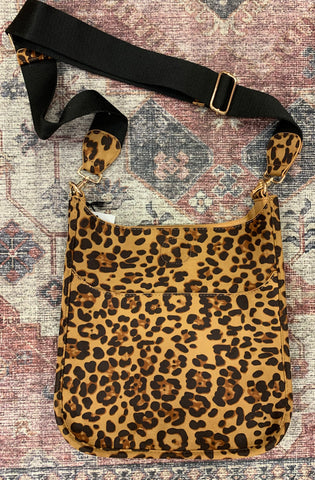 Suede Camel Leopard Messenger Bag ( strap is included )