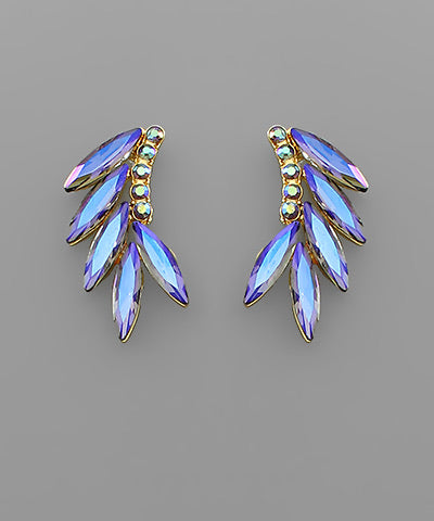 Marquise Blue Crystal Wing Earrings