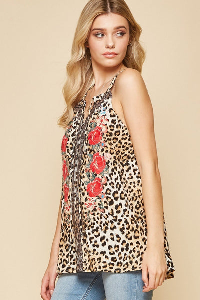 Leopard Floral Embroidery Tank
