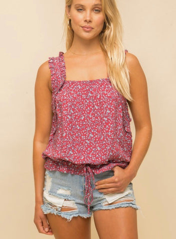 Berry Floral Ruffle Strap Tank