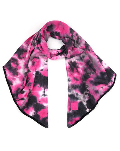 Black & Hot Pink Tie Dye CC Bias Cut Scarf